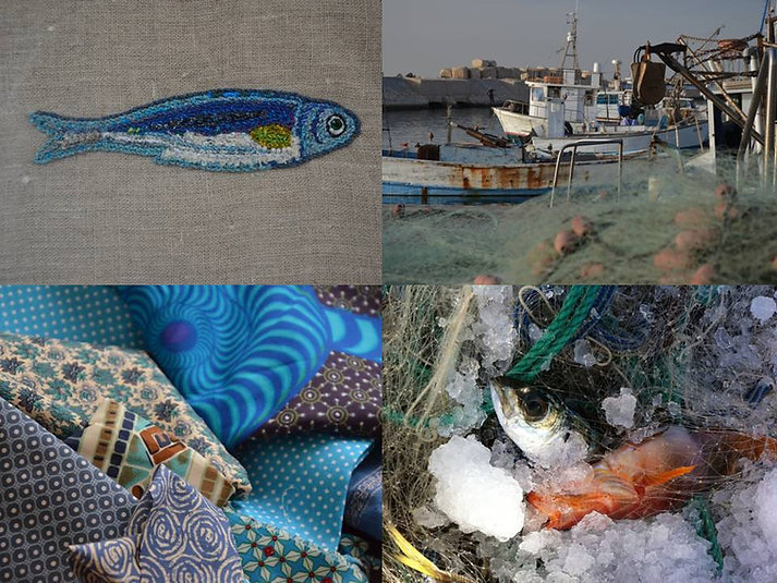 Poisson brodé, sardine bleue, broderie, art textile, Nod's