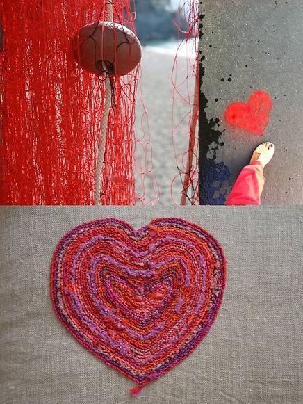 coeur brodé, coussin, pièce unique, art textile, broderie