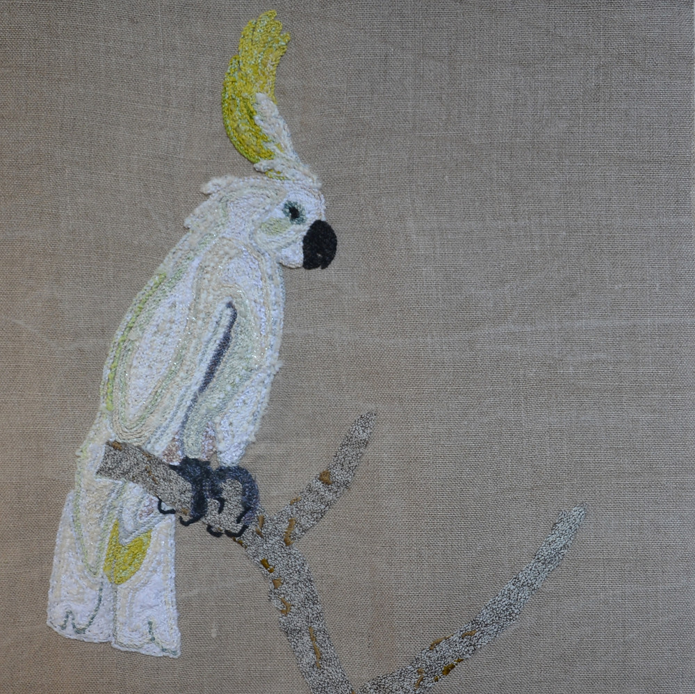 White parrot - Textile work by Nod's