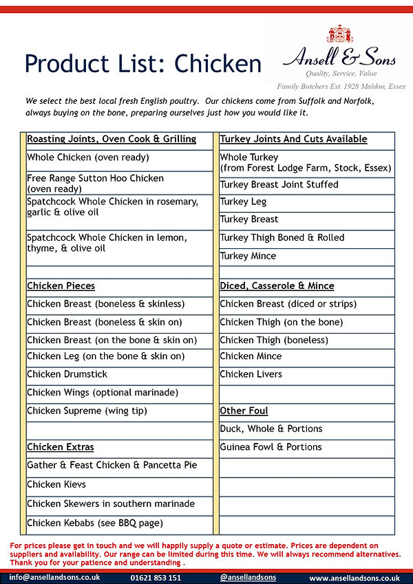 Chicken Product List template 310720A.jp