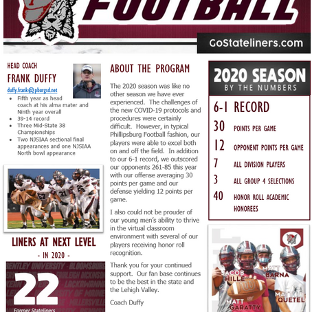 2020 STATELINER FOOTBALL NEWSLETTER