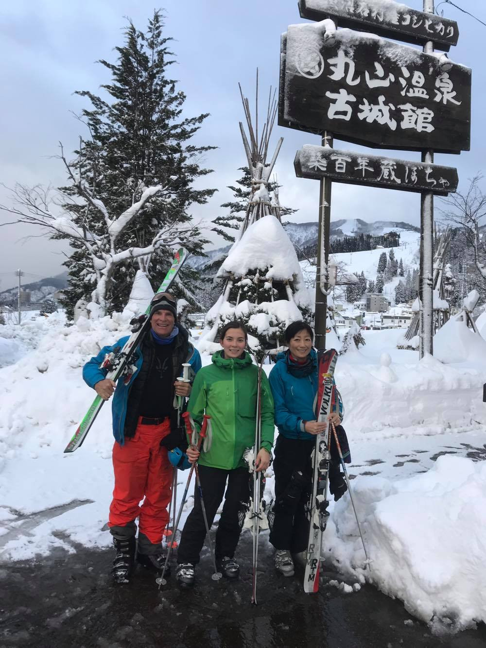 Arielle skiing with family in Japan.