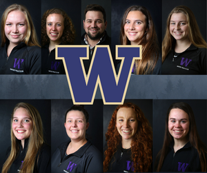 2019 University of Washington Northwest All-Conference Team (From top left to right) Frances Dizard, Kellie MacPhee, Rudy Ramirez, Shelby Smith, Katie Snell, Karli Stone, Hannah Sokol Jalene Weatherholt, Mary Elizabeth Ward