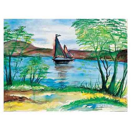 הדפס 4- סירה באגם