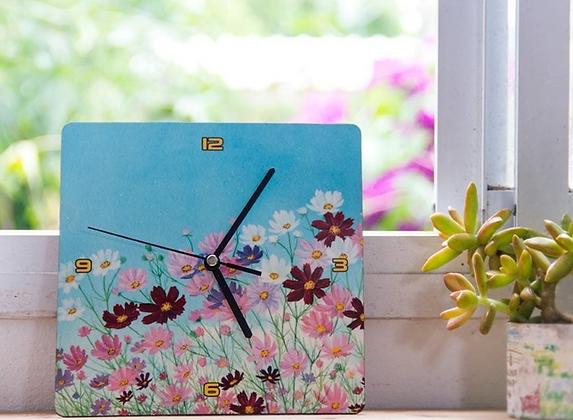 שעון קיר פרחים