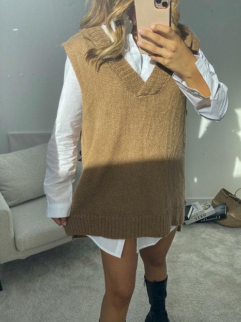 Brown Sleeveless Sweater