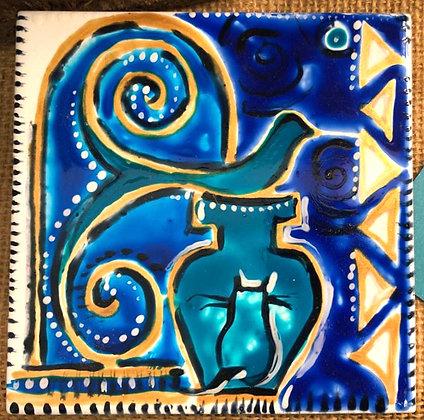 Handbemalte Dekofliesen blaue Serie
