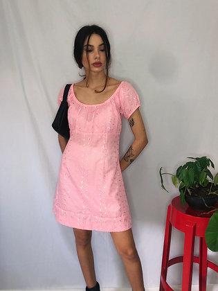 Vestido em Lese Rosa - Tam P/M