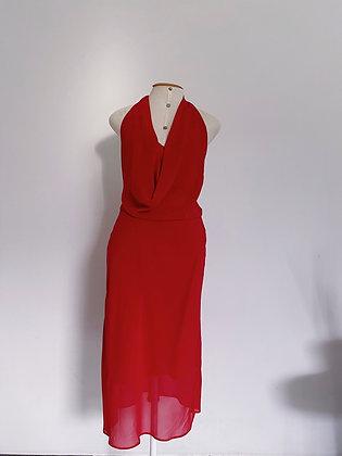 Vestido Vermelho frente única midi