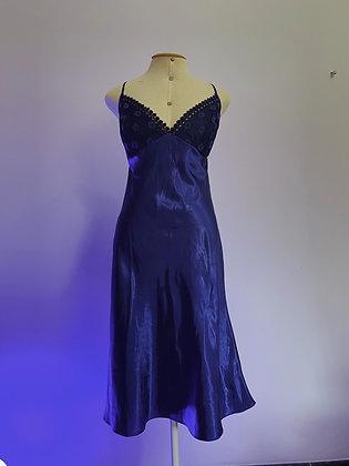 Vestido Slip Dress Azul Decote nas Costas - Tamanho G