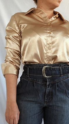 Camisa de Cetim Champanhe