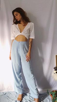 Calça Pantalona Azul Bebê