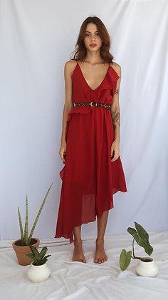 Vestido Vermelho Midi Babados Assimétricos
