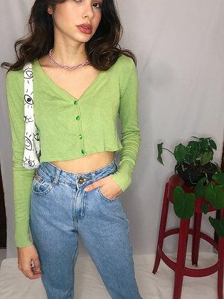 Cardigan Verde Cropped
