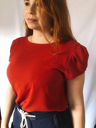 Blusa Vermelha manga tulipa