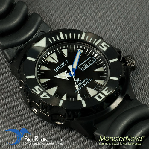MonsterNova PVD Black - Luminous Bezel for Seiko Monster
