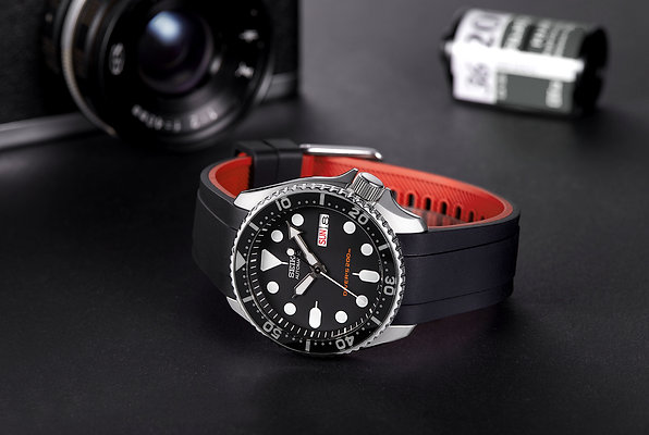Curved End Rubber Strap for Seiko SKX Series (CB10) (Dual Color)