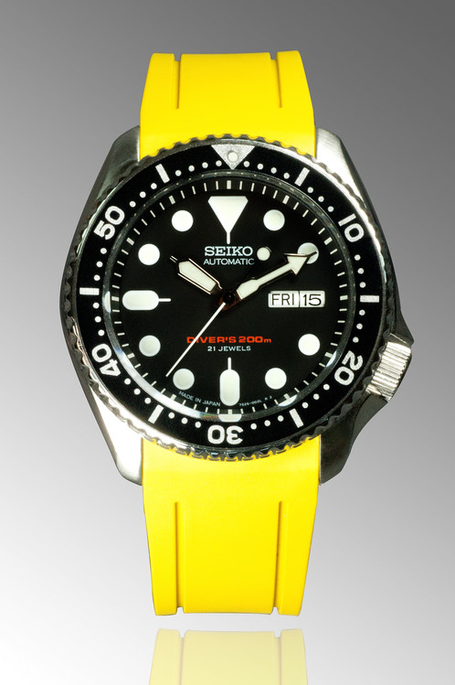 Crafter Blue Curved End Rubber Strap For Seiko Skx Series