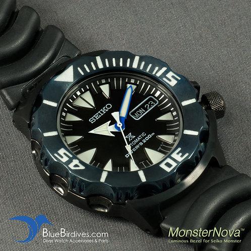 MonsterNova PVD Blue - Luminous Bezel for Seiko Monster