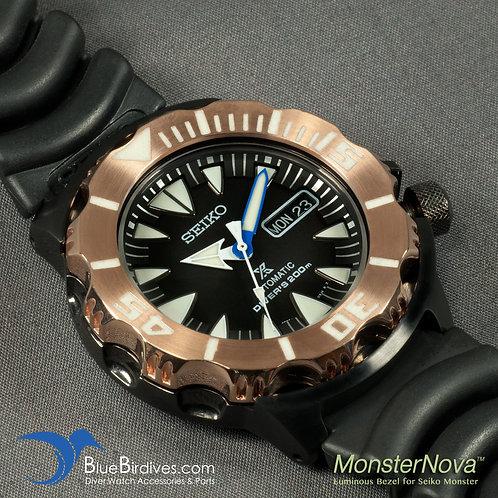 MonsterNova PVD Rose Gold - Luminous Bezel for Seiko Monster