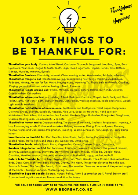 103+ Things to be thankful for