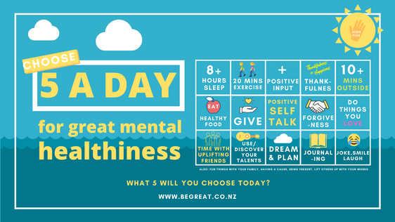 'Choose 5', a Daily Challenge for great mental health in NZ