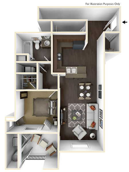 Picture to represent one bedroom floor plan page click to see more plans