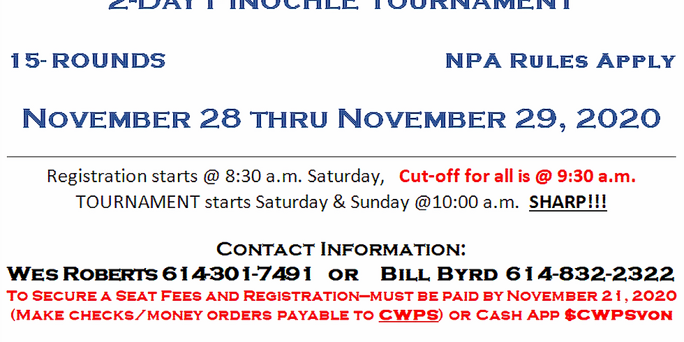 CWPS - 2-DAY Thanksgiving Pinochle Tournament