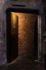 Scary door of an underground dungeon..jp
