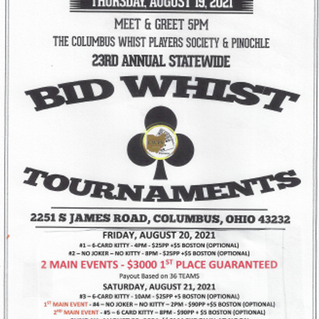 STATEWIDE WHIST TOURNAMENTS