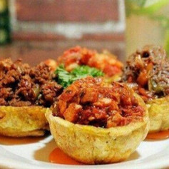 Guava Glazed Pulled Pork and Chicken Sofrito Plantain Cups
