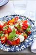 Panzanella salade met half-gedroogde tomaten, basilicum mayonaise en burrata
