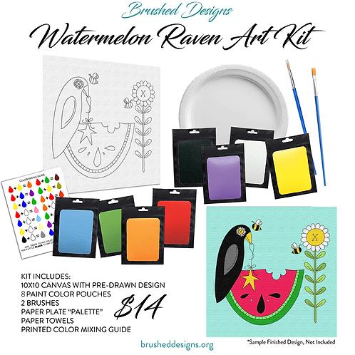 Watermelon Raven Art Kit