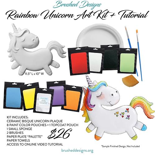 Rainbow Unicorn Ceramic Plaque Art Kit + Tutorial