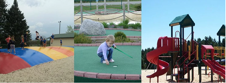 Collage of Jumping Pillow, Mini Golf, and Playground at Stoney Creek