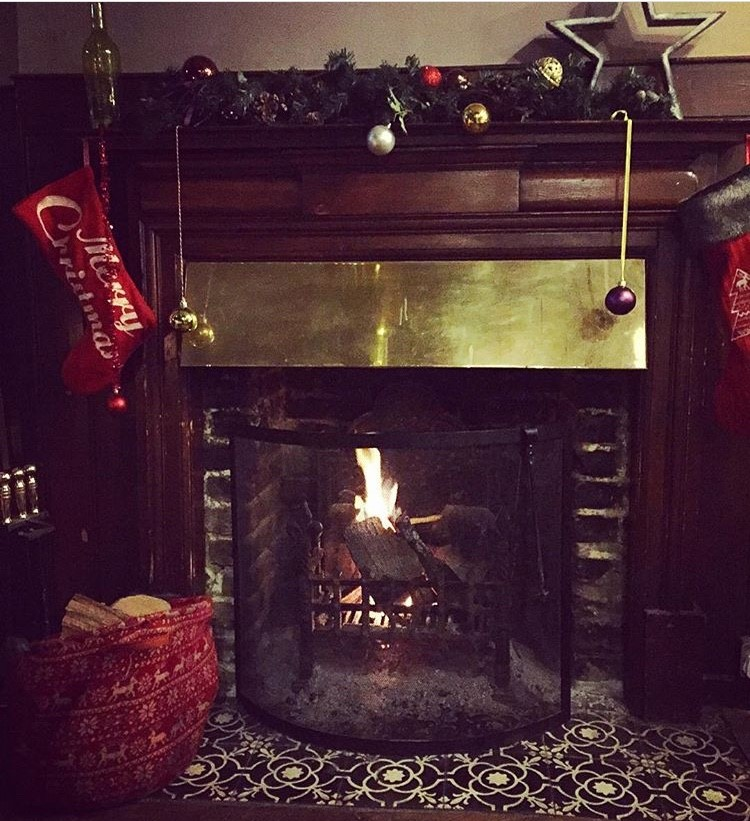 Real fires for stocking hanging. . .