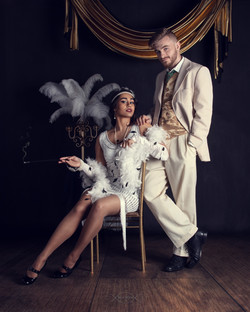 Styled Gatsby Inspired Couple Portrait.