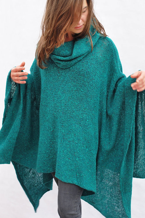 donegal cowl neck poncho in jade