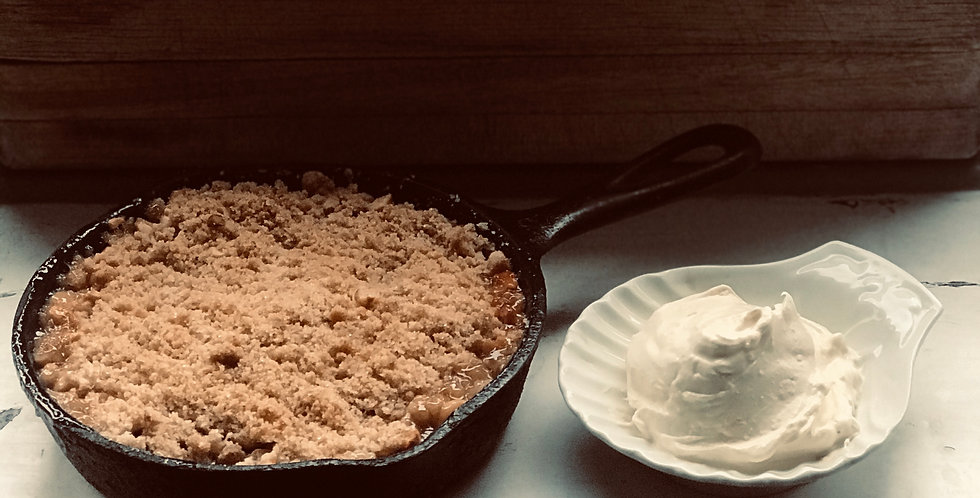 Apple, blackcurrant and hazelnut crumble with clotted cream  (for 2)