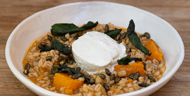 Pearl barley risotto with squash, Buffalo mozzarella, sage and pumpkin seeds (V)