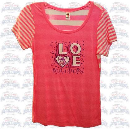 Pink Stripe 'Love Boulders' Youth Shirt