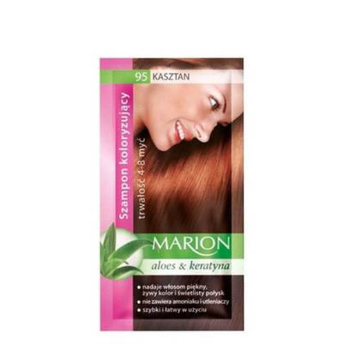10PCS  HAIR COLOURING SHAMPOO WITH KERATIN & ALOE 95 Medium Chestnut