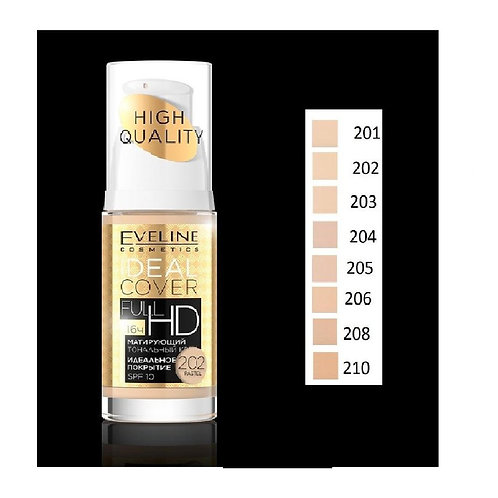 5PCS Eveline Ideal Cover Full HD Mattifying Foundation set 30ml(02,04,05,06,08)