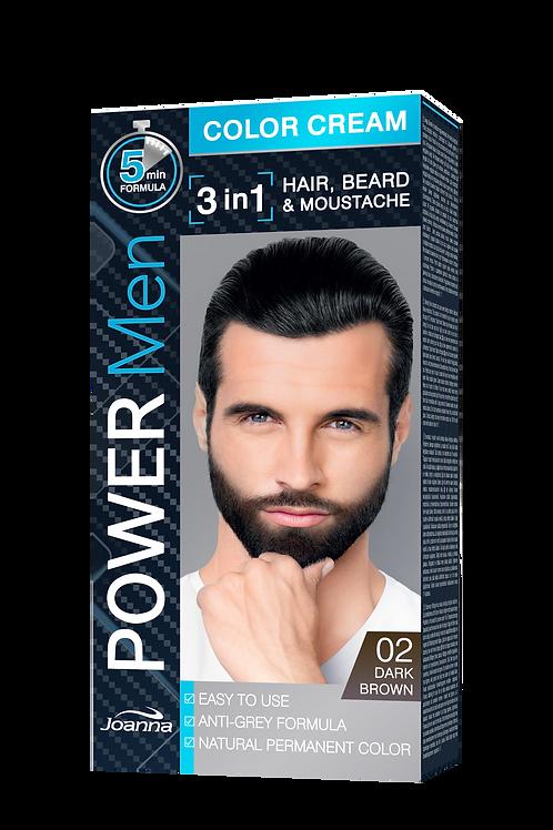 Joanna power men 3 in 1 color cream 02 dark brown