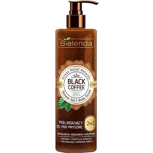 6pcs Stress Relief Naturals Black Coffee 2 in 1 Shower Gel & Scrub 410g
