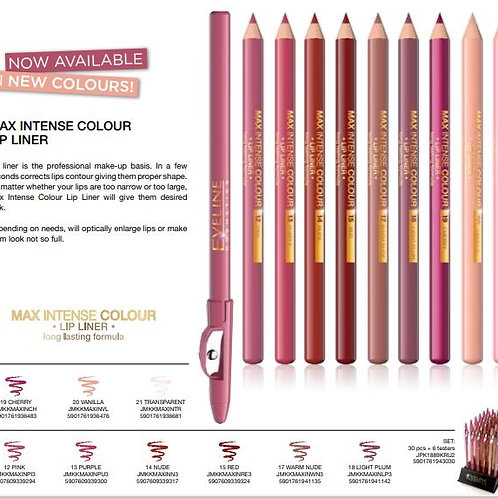 15pcs MAX INTENSE COLOUR LIP LINER Pack(14,15,17,18,19)