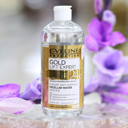 8pcs Eveline Gold Lift Expert Luxurious Anti-wrinkle Micellar Liquid 3in1 500ml