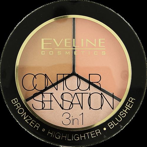 3PCS CONTOUR SENSATION 3 in 1 • Bronzer • Highlighter • Blusher per 6pcs