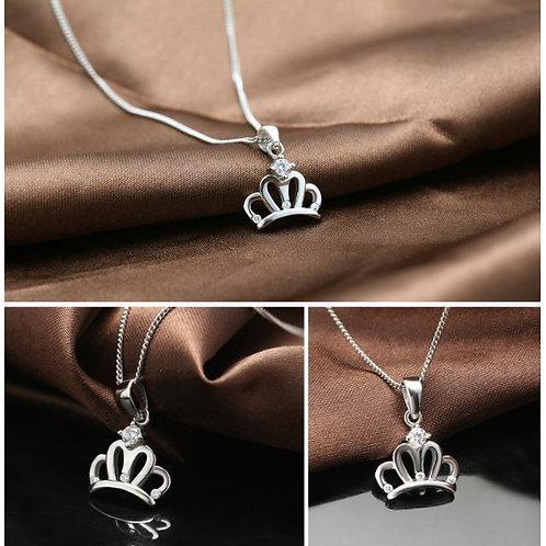 S925 Sterling Silver Diamond Crown Pendant £6.50