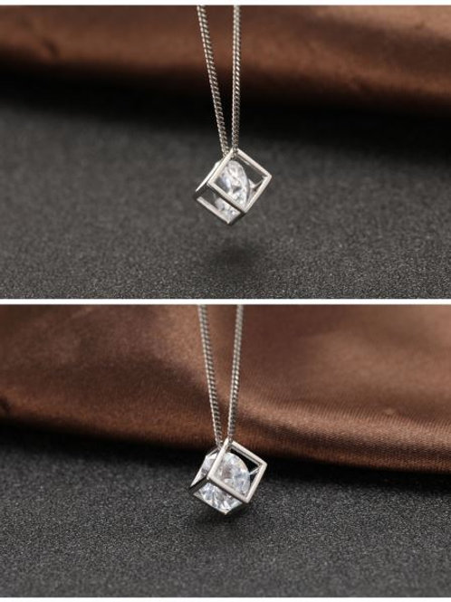 S925 Silver Pendant Silver Cube Diamond Pendant £7.00
